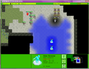 The player's squad entered a cave where it must battle bandits, a ghost and some water elementals.