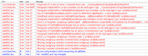 A bad example of TeX error console I found on Google.