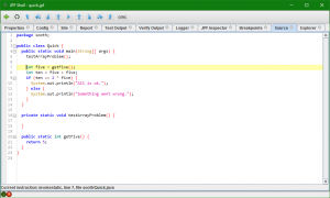 The source code view shows the line that is about to be executed.